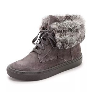 Vince Nyack Grey Suede Rabbit Fur-Cuff Sneakers